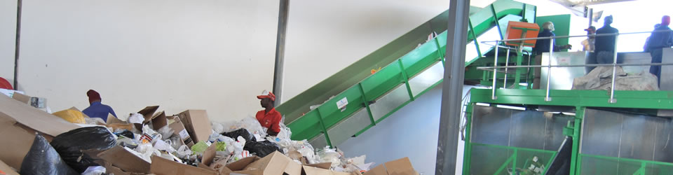 Recycling centre in Windhoek. Under the Environmental Management Act, waste management, treatment, handling and disposal activities require an Environmental Clearance Certificate